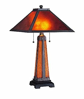 Lite Source LS 20474 Micah Table Lamp, Dark Coffee With Mica Shade