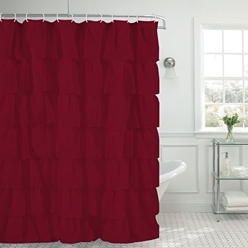 1pc Gypsy Ruffled Fully Stitched Curtain Panel Drape Window Treatment Or Shower In 25 Colors And 4 Different Sizes Burgundy