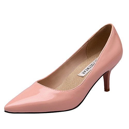 Latasa Womens Pointed Toe Kitten Heels Dress Pumps Pink Ems6xkJI0
