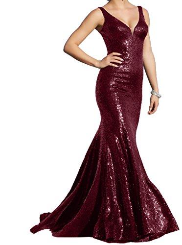 Pailletten Partykleider Burgundy Abendkleider Charmant Festlichkleider ausschnitt Elegant Damen Lang V Promkleider vwnwY1Eq