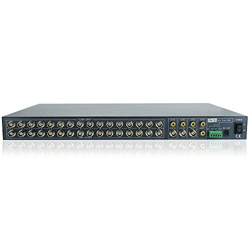 Toughsty™ 16Ch Realtime Color Video Multiplexer Processor CCTV Security Quad with Loop-through Audio RS485