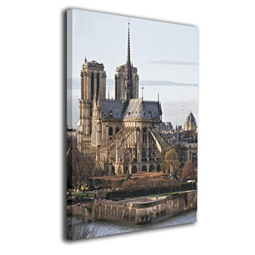 SRuhqu Canvas Wall Art Prints Notre Dame of Paris The Seine Cathedral Religion -Picture Paintings Contemporary Home Decoration Giclee Artwork-Wood Frame Ready to Hang
