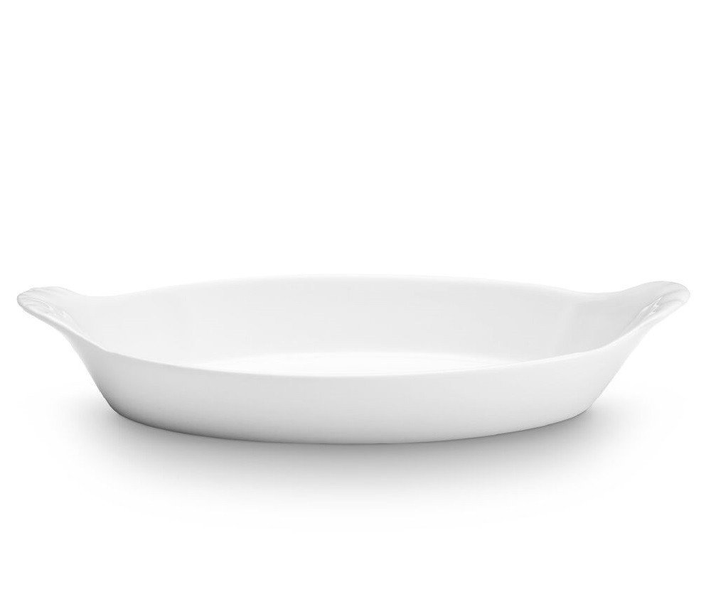 Oval Eared Gratin Porcelain White 6'' X 4'' Dishes Baking Microwave & Freezer Safe Kitchen Pans Homey Delight