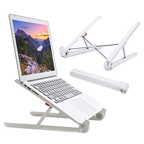 HealthClub Laptop Stand Adjustable Portable Computer Stand Riser for Standing Desk, MacBook, Notebook Computer PC iPad, White, As a Gift of Cyber Monday (Best Cyber Monday Laptop)