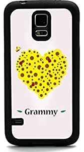 Rikki KnightTM Grammy Name Yellow Flowers Heart on Pink Background Design Samsung? Galaxy S5 Case Cover (Black Rubber with front Bumper Protection) for Samsung Galaxy S5 i9600 Kimberly Kurzendoerfer