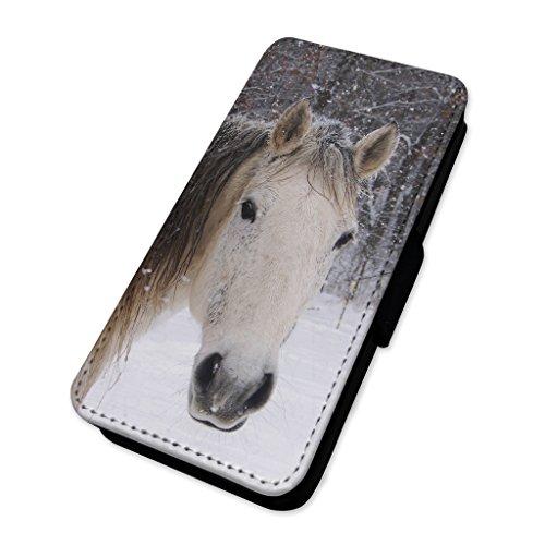 Beautiful White Snow Horse–Custodia ad aletta in pelle copertura di carta Apple Iphone 6 Plus/6s Plus