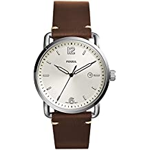 Fossil Men's The Commuter Quartz Stainless Steel and Leather Casual Watch, Color Silver-Tone, Brown (Model: FS5275)
