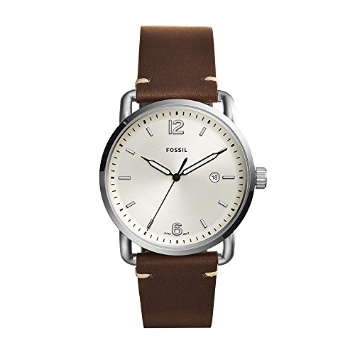 Fossil Men's The Commuter Quartz Stainless Steel and Leather Casual Watch, Color: Silver-Tone, Brown (Model: FS5275) (Crystal Heart Watch Leather Band)