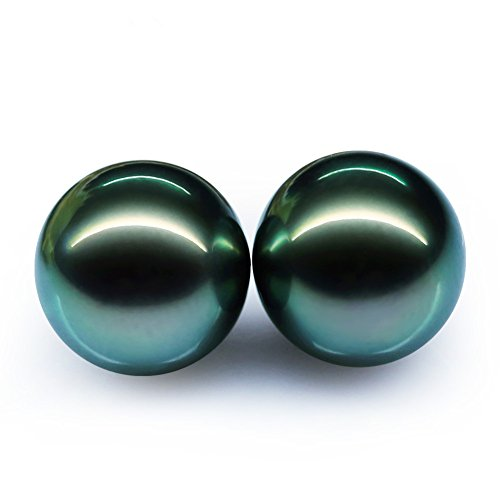 AAAA Quality Round Tahitian South Sea Cultured Black Pearl ,Peacock Green Naked Beads 11.5-12MM