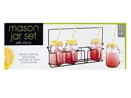 Kole OL133 Glass Drinking Mason Jar Set with Metal Stand, Regular