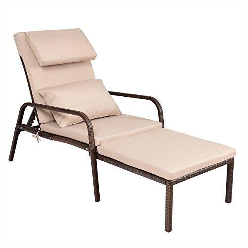 Tangkula Patio Reclining Chaise Lounge Outdoor Beach Pool Yard Porch Wicker Rattan Adjustable Backrest Lounger Chair (Pull Out) by Tangkula (Image #7)
