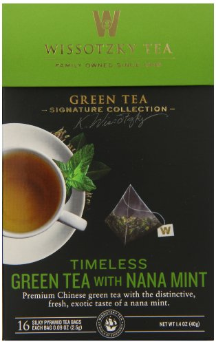 Wissotzky the Signature Collection Tea, Timeless Green Tea with Nana Mint, 16Count (Pack of 6)
