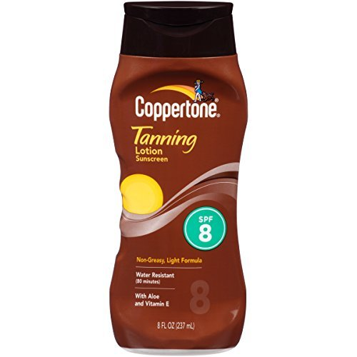 - Coppertone Tanning Lotion, Non-greasy, Light Formula, SPF 8, 8-Fluid Ounce) by Coppertone