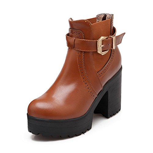Low Heels Round Allhqfashion Women's Solid Toe Brown Pull top Closed High on Boots S5fvqw5
