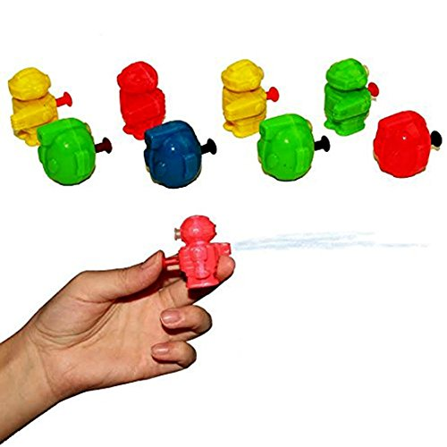 Mini Robot Water Gun 24 Pack - Assorted Colors Single Barrel Water Pistols Set of 24 | 2 Styles multicolor Miniature Squirt Gun Sand Beach Toy - Kids Party Favor (Party Miniature)