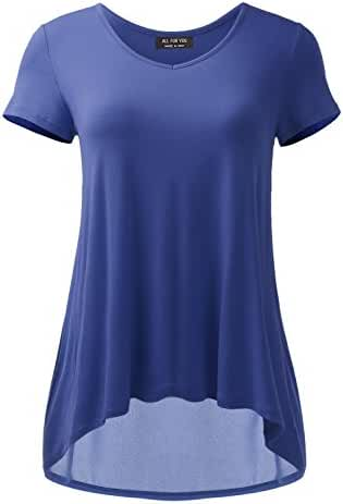 ALL FOR YOU Women's V-Neck Flare Tunic Top Made in USA