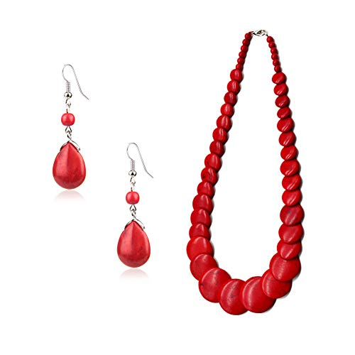 - Vintage Red Drop Stone Bead Fringe Dangle Earrings Necklace Set For Women Girls Alloy (Red Set)