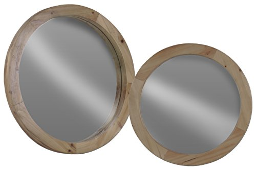 Urban Trends Round Wall Mirror Weathered in Wood Finish (Set of 2), Beige (Set Of Mirrors For Wall)