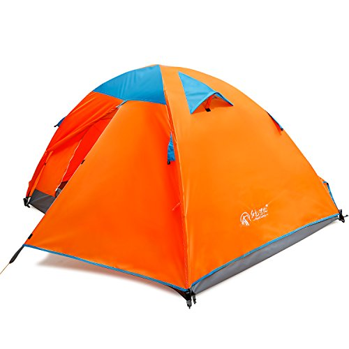 REDCAMP 2 Persons Camping Tent,Backpacking Waterproof Tent,3 Season Two-function Outdoor Tent for Hiking,Orange