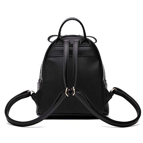 Mochila Escolar Mujer Eeayyygch De Negro color Cuero Bolsos Pu Para Hombro Negro Bolsa Laptop YrrEwqd