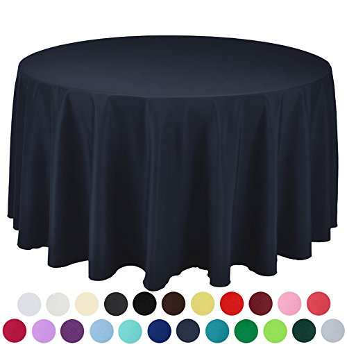 VEEYOO 132 inch Round Solid Polyester Wedding Restaurant Party Tablecloth, Navy Blue