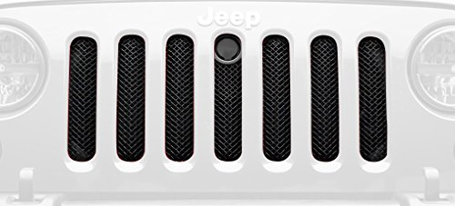 - T-Rex 46482 Sport Series Black Grille with Hood Lock Provision Jeep Wrangler Sport Mesh