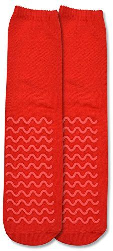 Secure (4 Pairs) Ultra Soft Non Slip Grip Slipper Socks, Red - Fall Injury Prevention Hospital Tread Sock for Safety, Comfort and Warmth by Secure (Image #2)