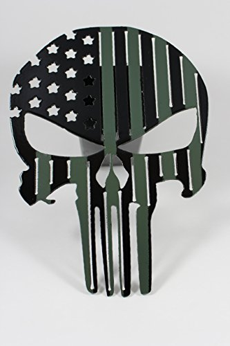 Punisher Flag Trailer Hitch Cover Black and Army Green by Turpins Horseshoe Creations