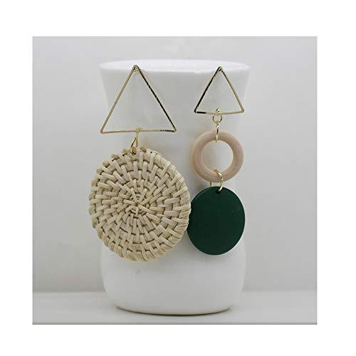 LIAOYLY Women Handmade Rattan Weave Wooden Earrings Big Geometric Circle Irregular Drop Earrings Jewelry LLS01001 onesize - Geometric Weave Bracelet