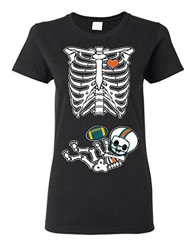 (Baby Skeleton Miami Football Ladies (not Maternity) DT T-Shirt Tee (XXX-Large, Black))