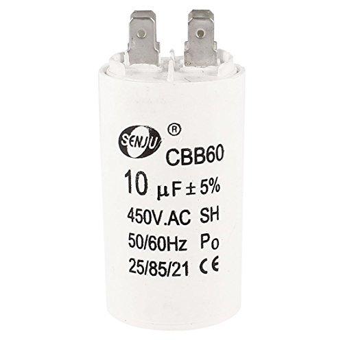 Washing Machine 4 Pin 10uF AC 450V CBB60 Motor Run Capacitor White