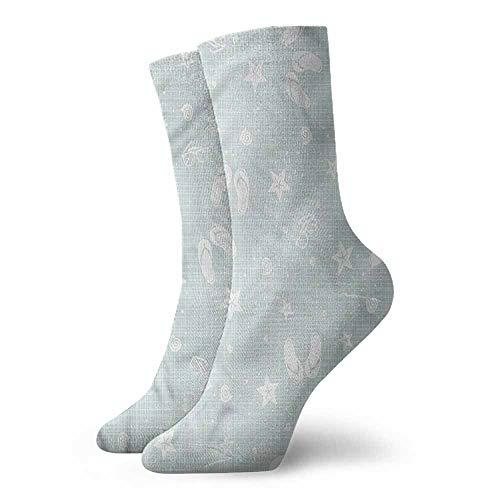 Novelty Socks for Men and Women Aqua Beach Theme Sea Star Unisex Men's & Womens Socks -