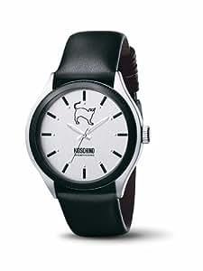 Moschino MW0069 - Reloj analógico de caballero de cuarzo con correa de piel negra - sumergible a 30 metros