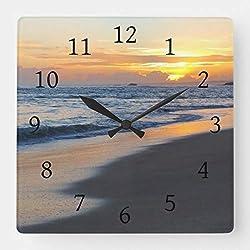 TattyaKoushi 15 by 15-Inch Wall Clock, Photo 19 Ocean Sunset Square Wall Clock, Living Room Clock, Home Decor Clock