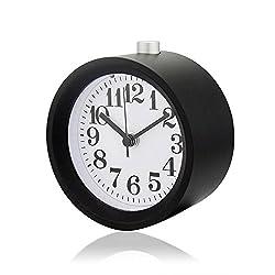 Smileto® Creative Small Round Classic Aluminium Silent Desk Travel Alarm Clock With Nightlight Snooze Function(Black)