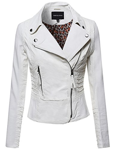 White Faux Leather Rider Jacket Offwhite M Size