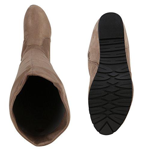 Stiefelparadies Keilstiefel Damen Stiefel Keil Absatz Leder-Optik Gefüttert Flandell Khaki Carlet