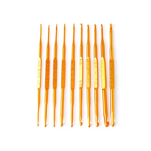 Kocome 10Pcs Golden Aluminum Double End Crochet Hook Knitting Needle Set Weave Craft