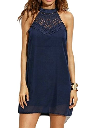 (Sweetnight Womens Halter Neck Lace Mini Casual Dress (Navy Blue, M) )