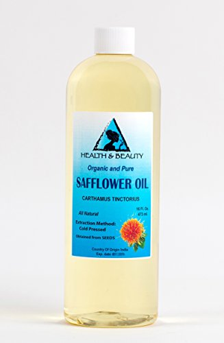 Safflower Oil Organic by H&B OILS CENTER Cold Pressed High Oleic Premium Quality Natural 100% Pure 16 oz