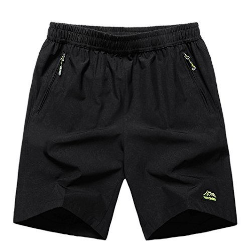 TBMPOY Men's Summer Active Shorts Loose Fit Beach Shorts(02 Black,M)