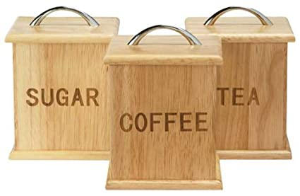 Oslo Traditional Wooden Tea Coffee And Sugar Canisters With