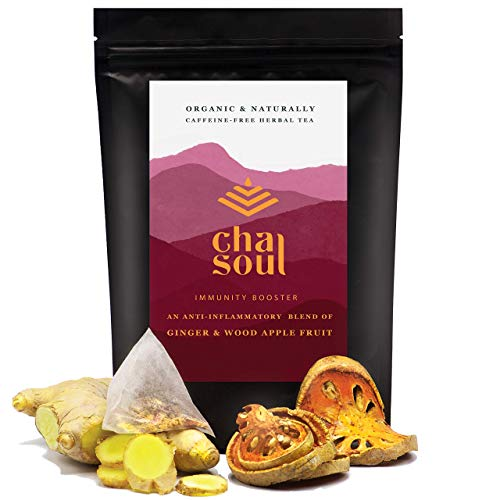 Cha Soul Immunity Booster Organic Herbal Tea for Promoting a Healthy Immune System, Support Regularity and Smooth Digestion, with Ginger Root and Wood Apple Fruit Pieces, 20 Biodegradable Tea Bags Review