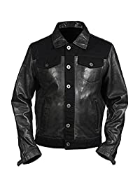 Men's Casual Trucker Grey Nappa Leather Shirt Jean Jacket