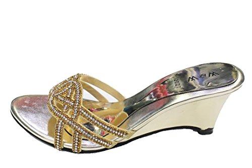 W & W Frauen Damen Abend Blockabsatz Sandalen Ball Party Hochzeit Brautschmuck Schuhe Größe, Gold, Rot, Royal Blau, Violett (san1011) Gold