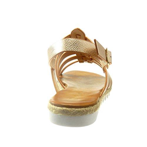 Angkorly - damen Schuhe Sandalen Espadrilles - Römersandalen - String Tanga - Multi-Zaum Keilabsatz 2 CM - Champagner
