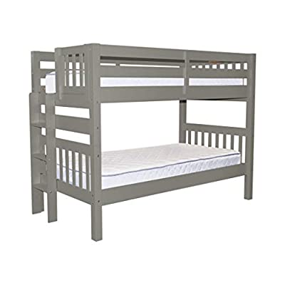 Bedz King Bunk Beds Twin over Twin Mission Style with End Ladder, Gray: Kitchen & Dining