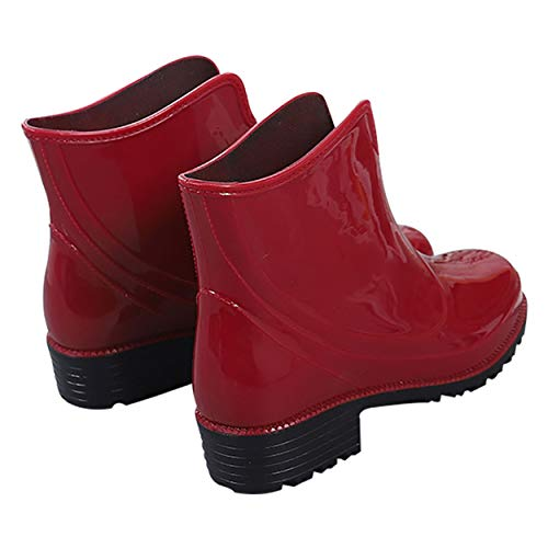 Slip Rubber Shoes Short Red Waterproof Chelsea Ankle Rain Rain on for Booties Boots Inornever Ladies Women ZfpvqpP6