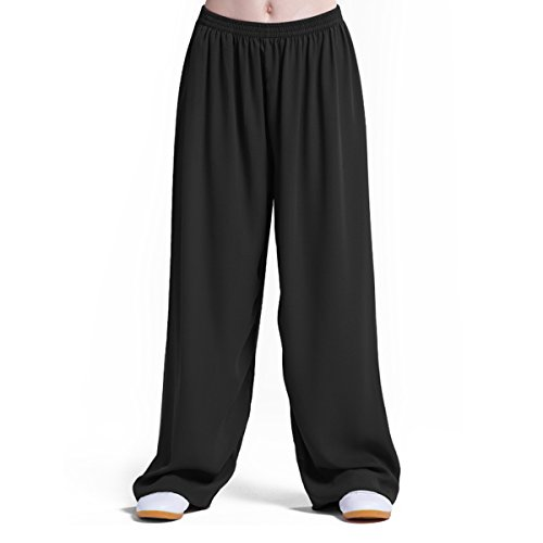 Chinese Traditional Style Martial Arts Pants, Pure COTTON & LINEN Super Breathable Extra Soft Tai Chi Trousers, Elastic Waist and Ankle. Perfect for Kung Fu Yoga Running, Black (Black, XXX-large)