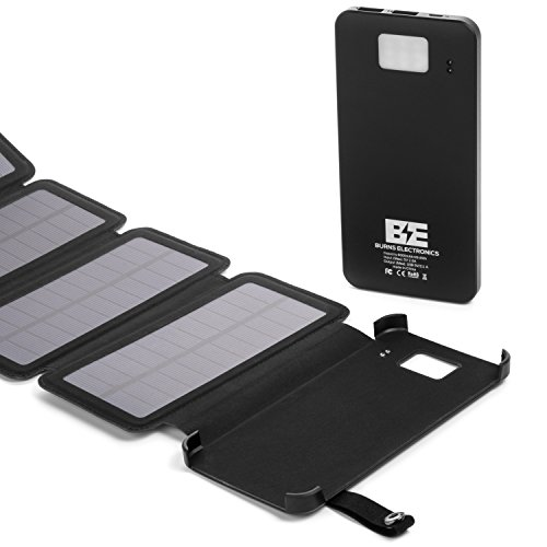 Burns Electronics Solar Charger by using Detachable combined USB high Capacity Battery ability Bank Foldable 4 Panel compact Solar ability Bank by using LED lighting for iPhone Samsung Outdoor outdoor visiting Solar Chargers